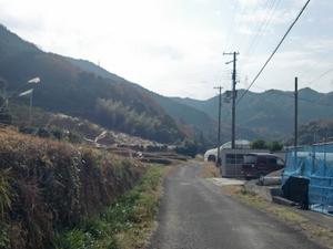 山へと延びる道