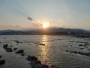 青島からの夕日